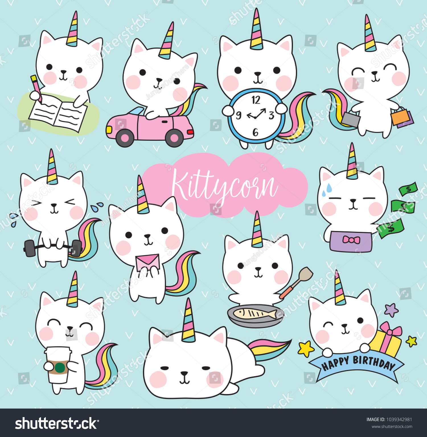 Vector Illustration Cute White Cat Unicorn Stock Vector