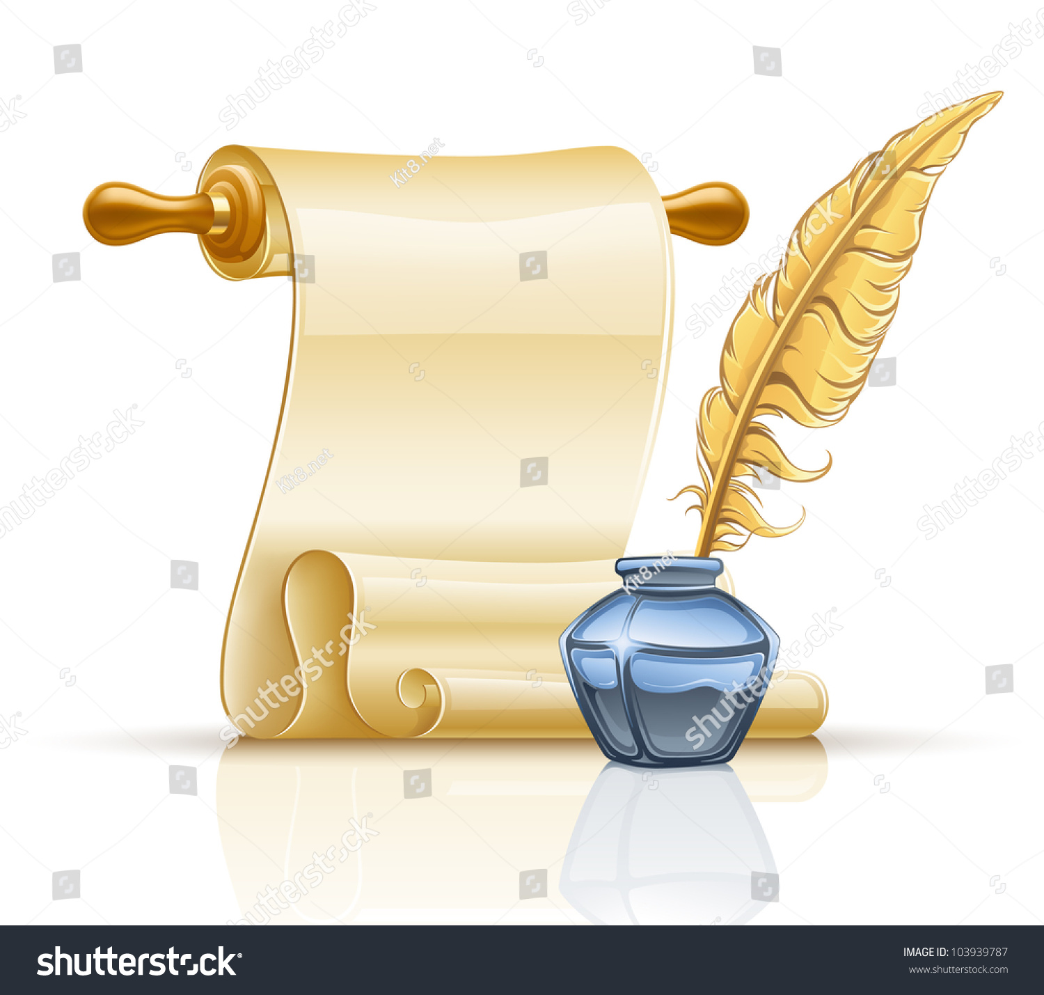Old paper scroll with feather png