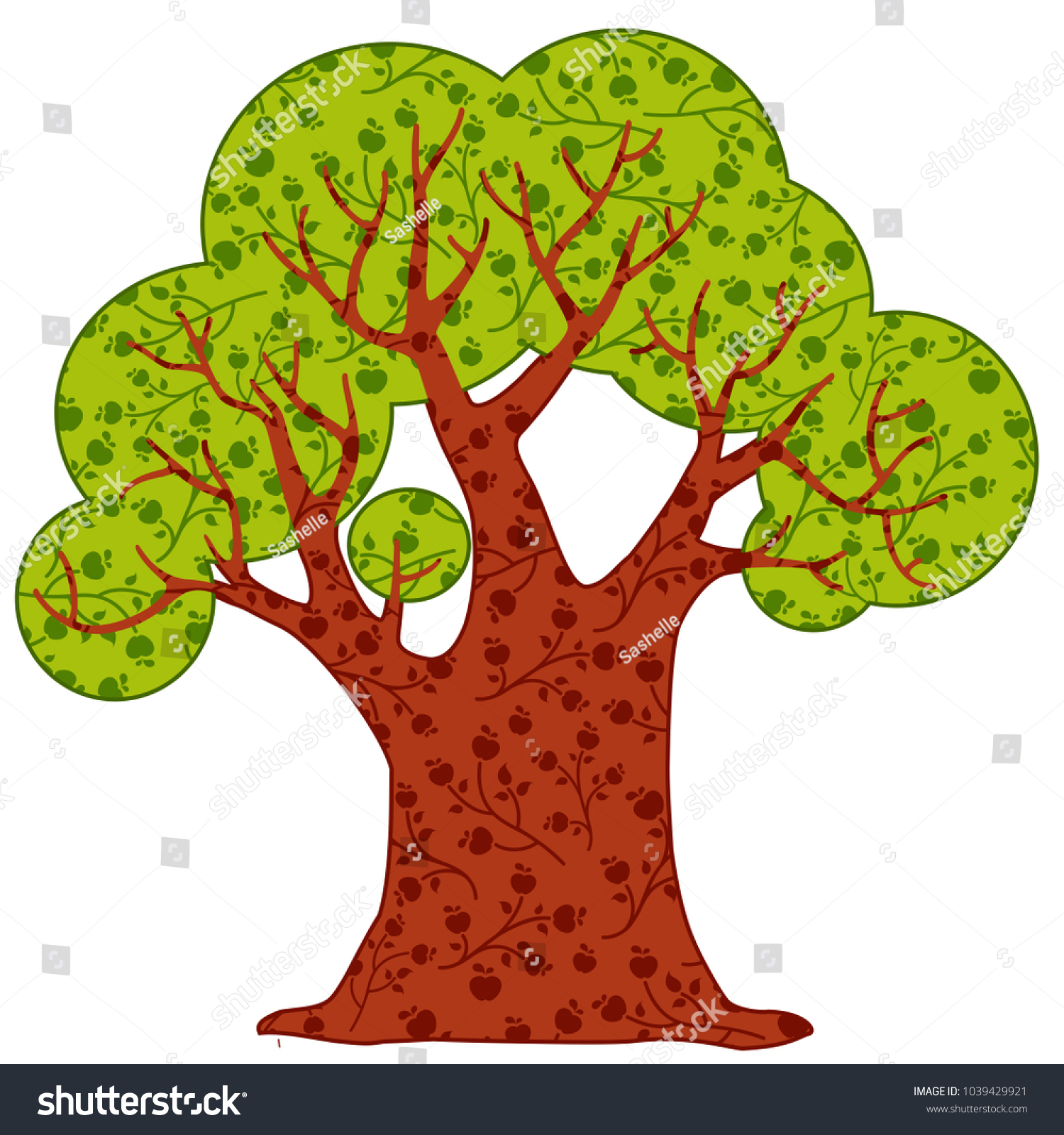b0bb0531ee7a7 Big vector tree with ornament on the leaves and trunk. Cute forest. Bright  summer