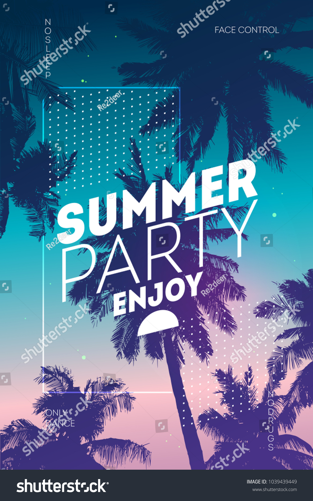 poster summer beach party background invitation stock vector