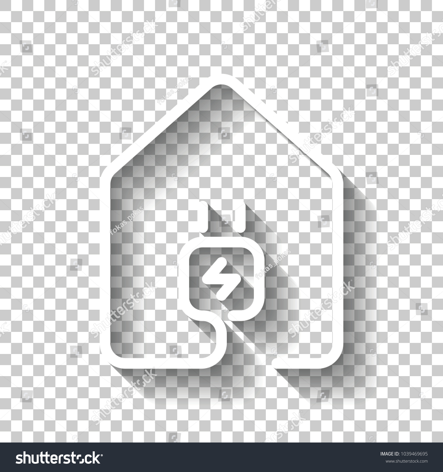 House Electric Power Plug Icon Line Stock Vector 1039469695 ...