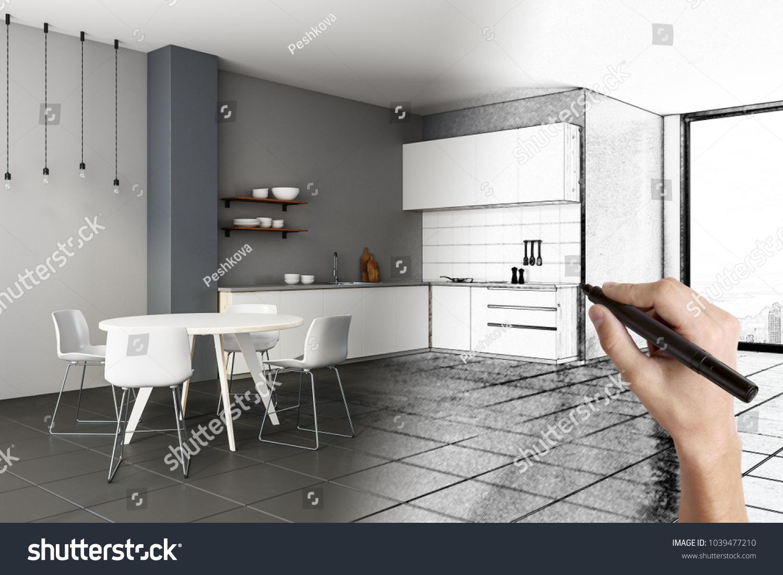 Wonderful Hand Drawing Creative Kitchen Interior Designのイラスト素材 1039477210    Shutterstock