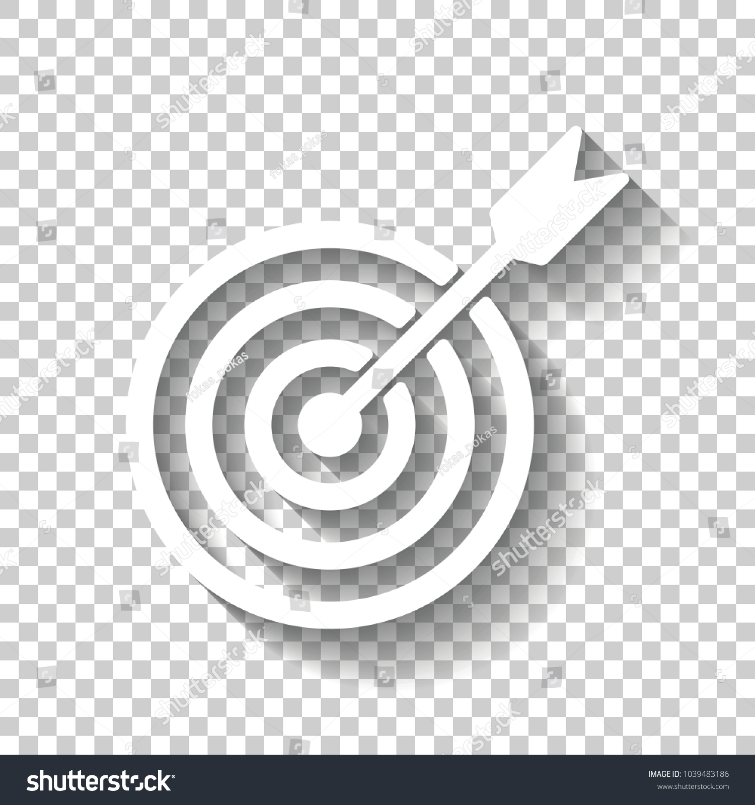 Target Icon White Icon Shadow On Stock Vector Royalty Free