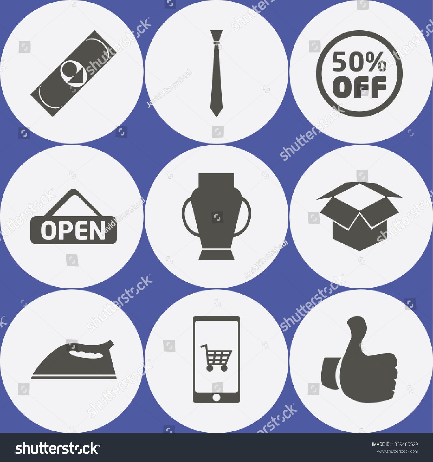 Shopping Icon Set Box Discounts Winner Stock Vector (Royalty