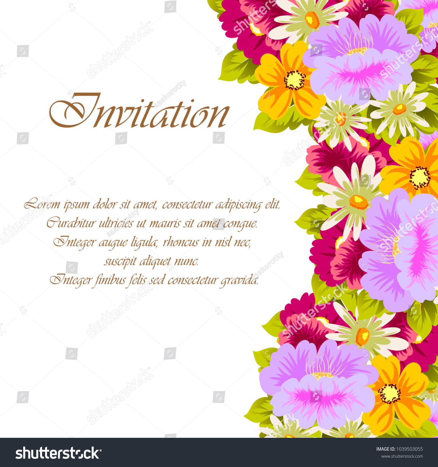 Beautiful Floral Frame Your Designs Greeting Stock Vector Royalty