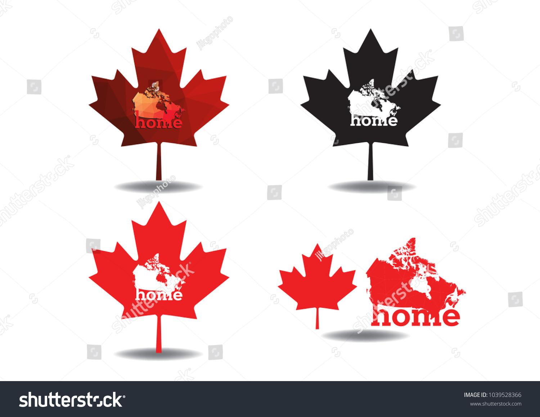 Canada Map Maple Home Design Collection Stock Vector 1039528366 ...