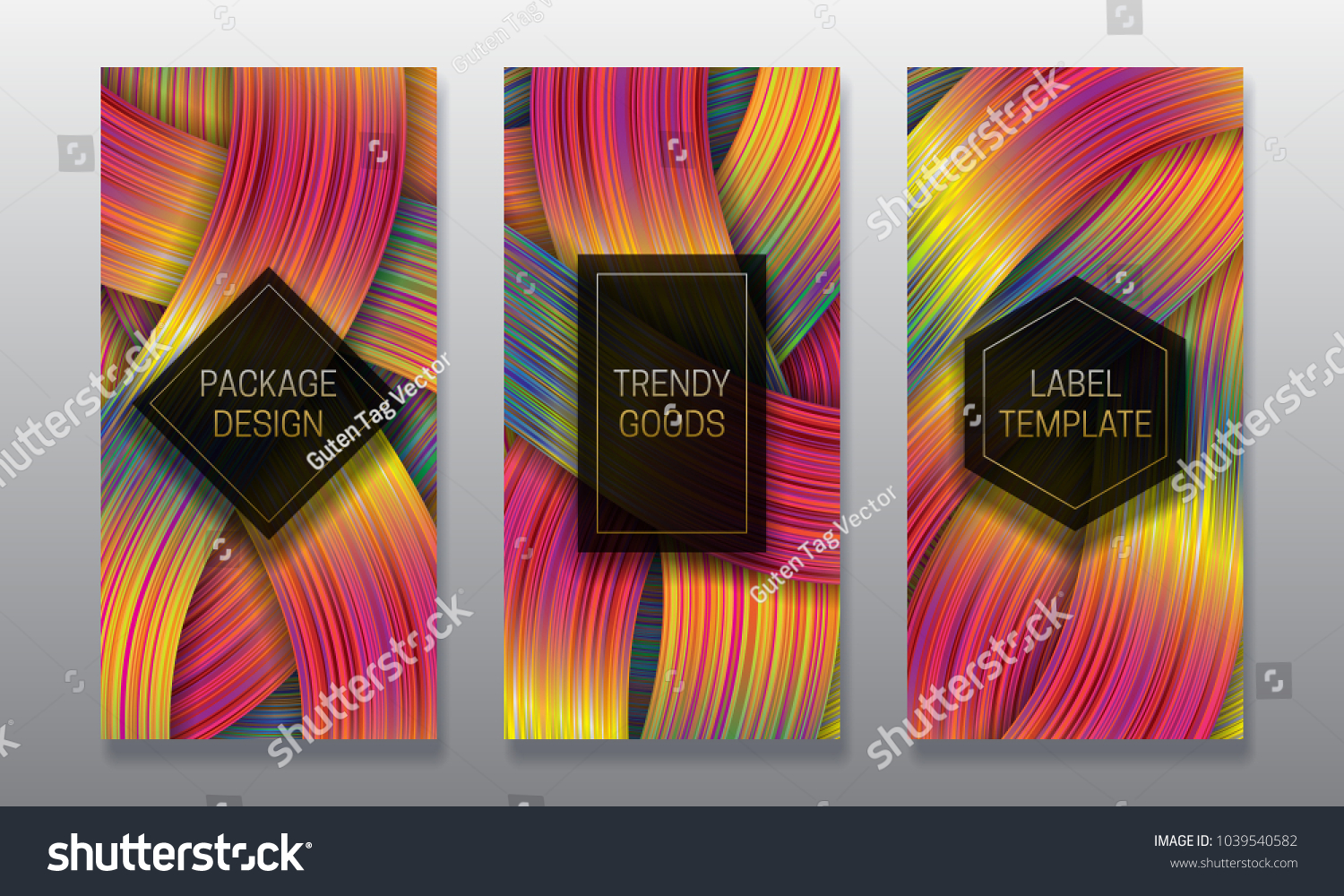 Luxury Packaging Design Set Colorful Labels Stock Vector 1039540582 ...