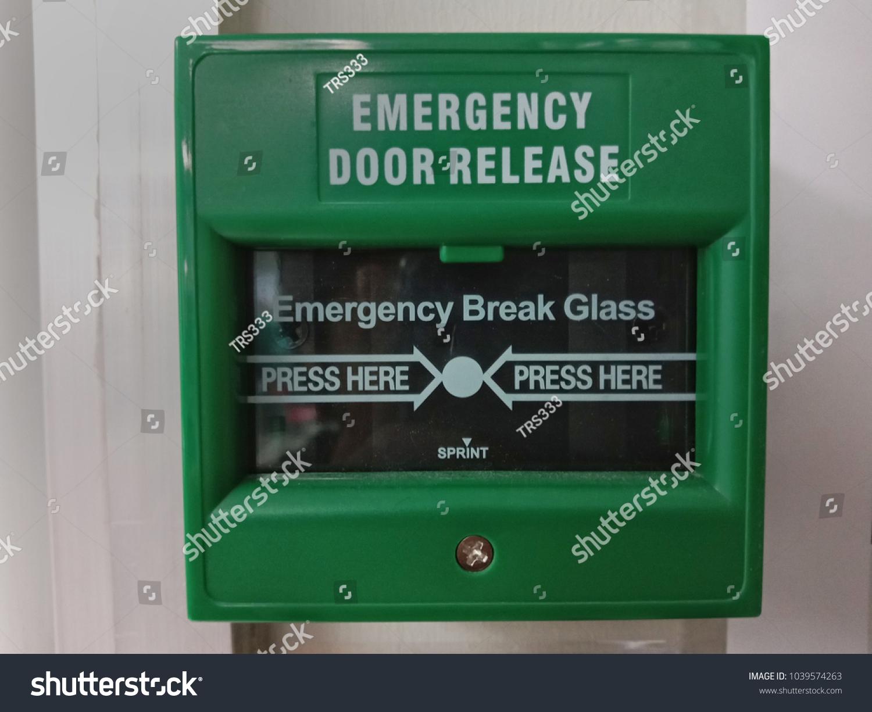 Emergency Break Glass Emergency Door Release Use Stock Photo Edit