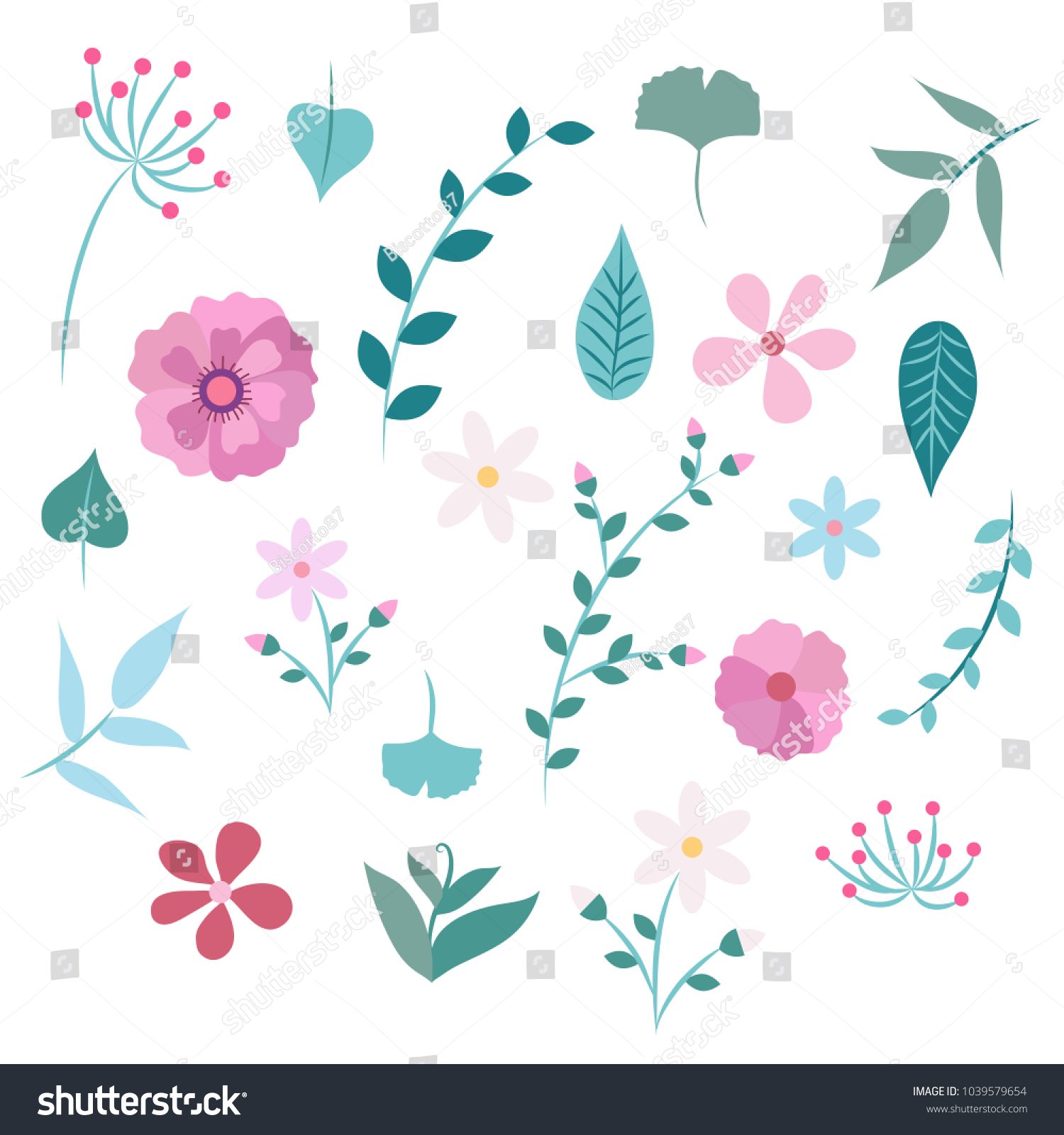 Spring Flowers And Leaves Seamless Pattern Different Types Of