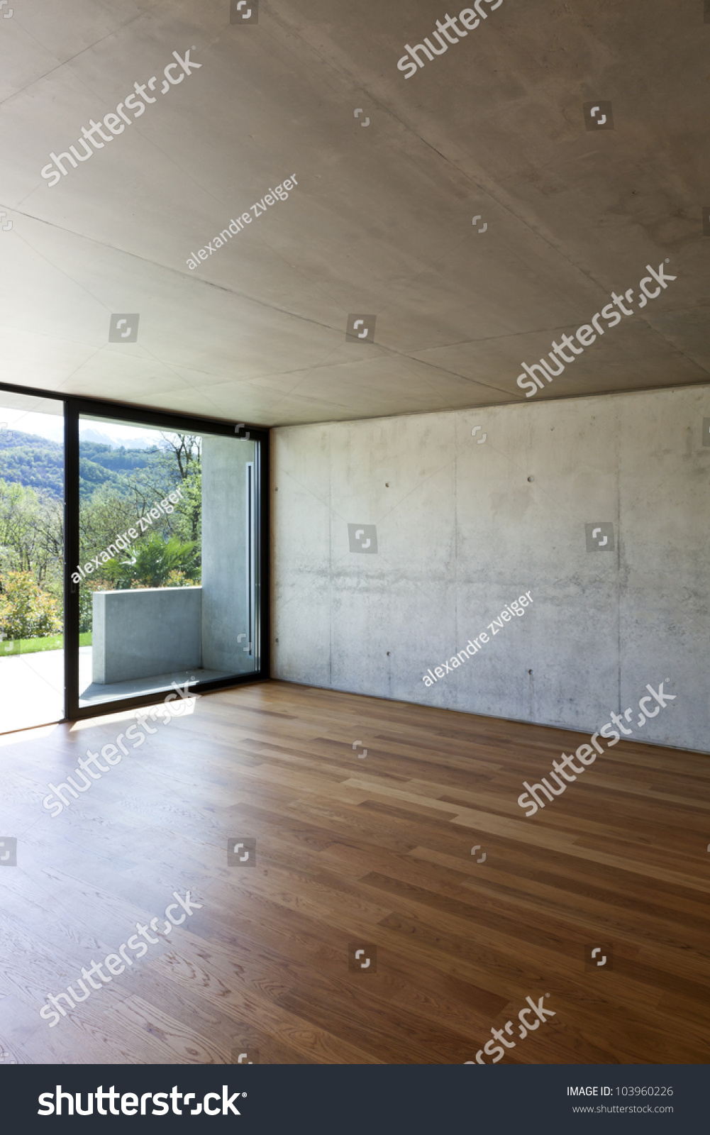 Modern Concrete House With Hardwood Floor Detail Window