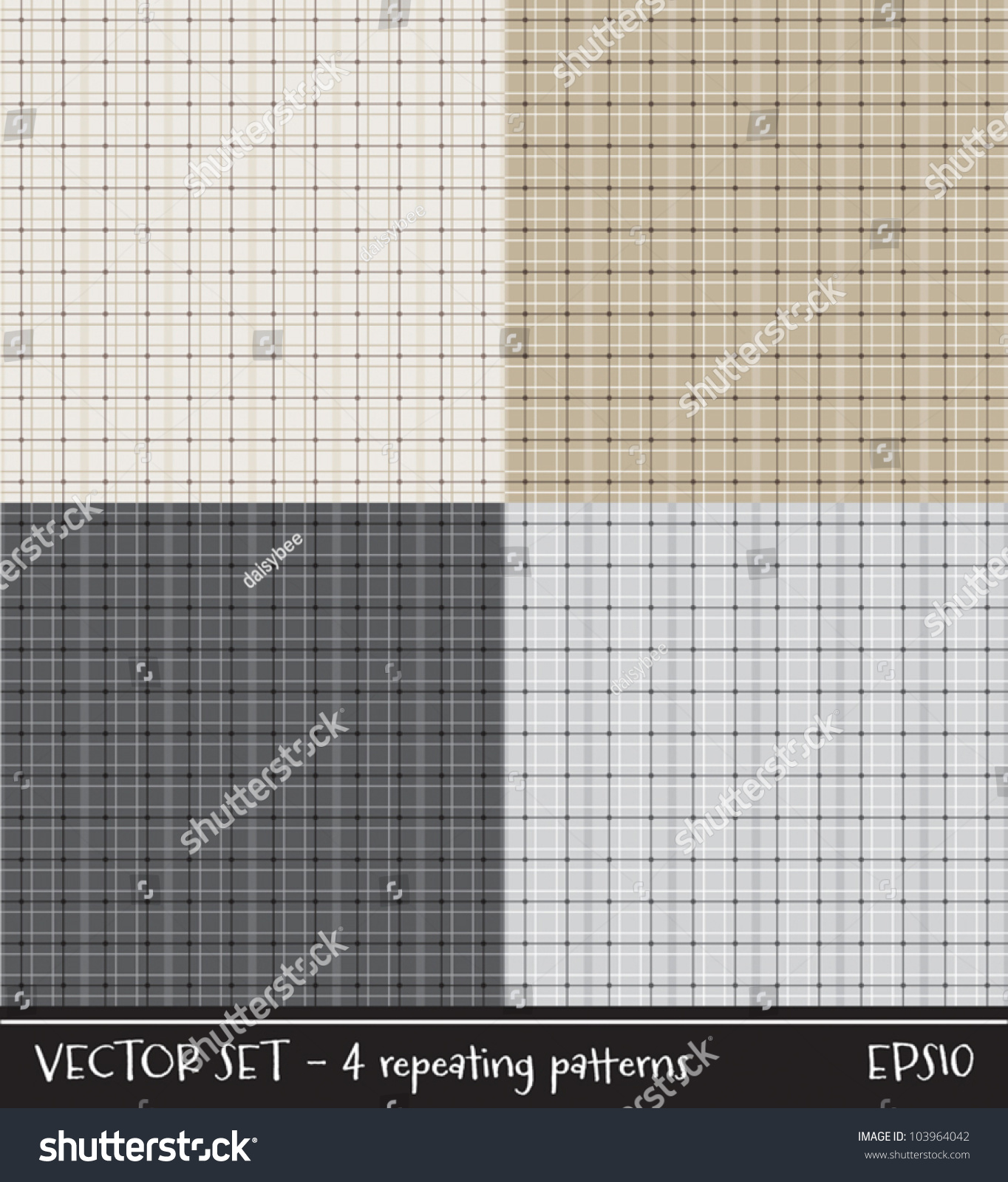Vector Set Of Four Plaid Checked Patterns In Neutral Colors Can Be Used For