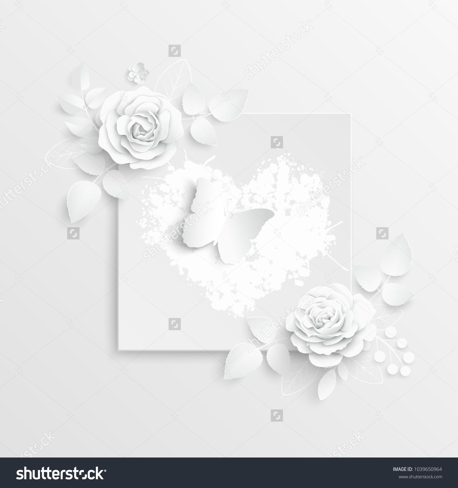 Paper Flower Frame White Rose White Stock Vector 1039650964