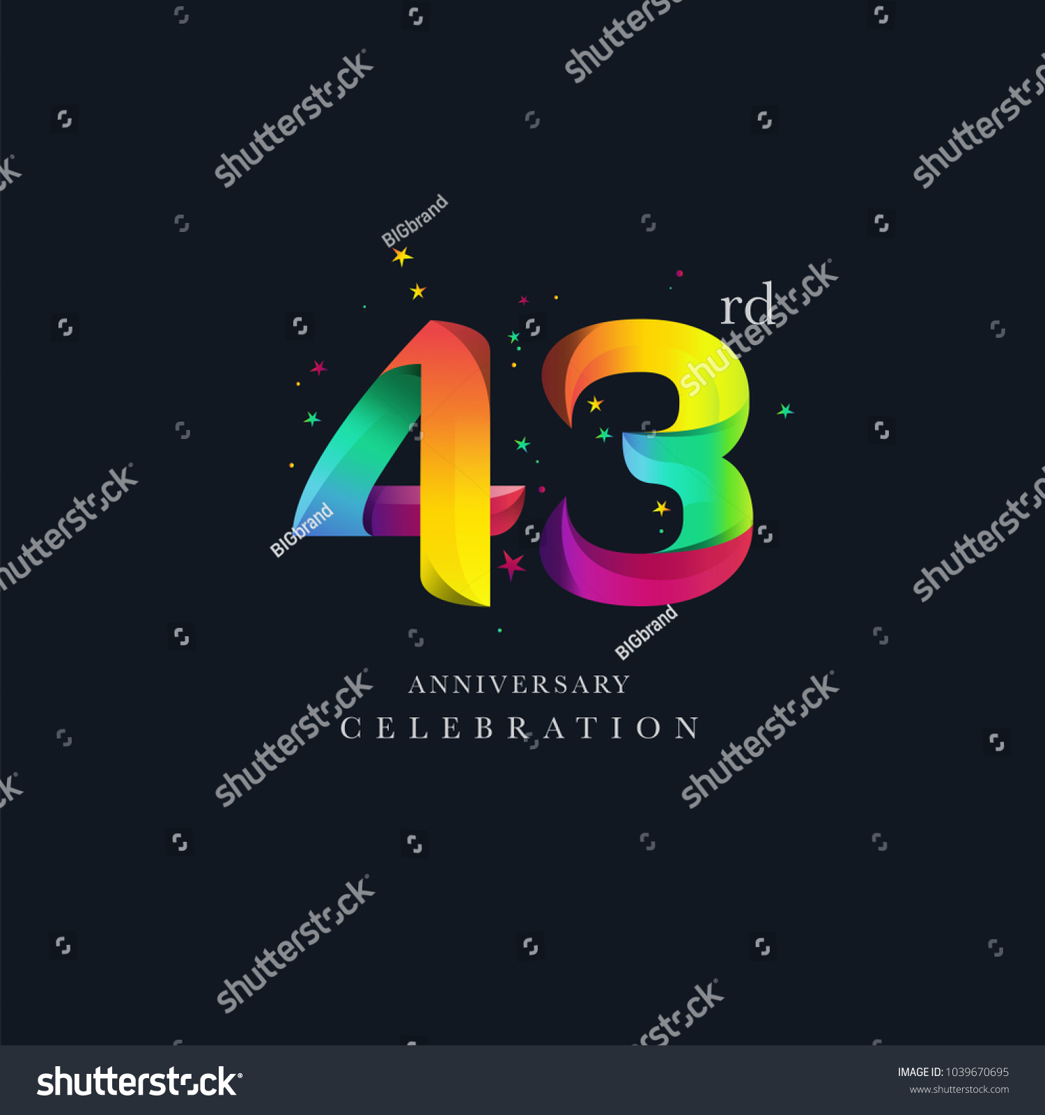 43rd Anniversary Logo Design Number 43 Stock Vector Royalty Free