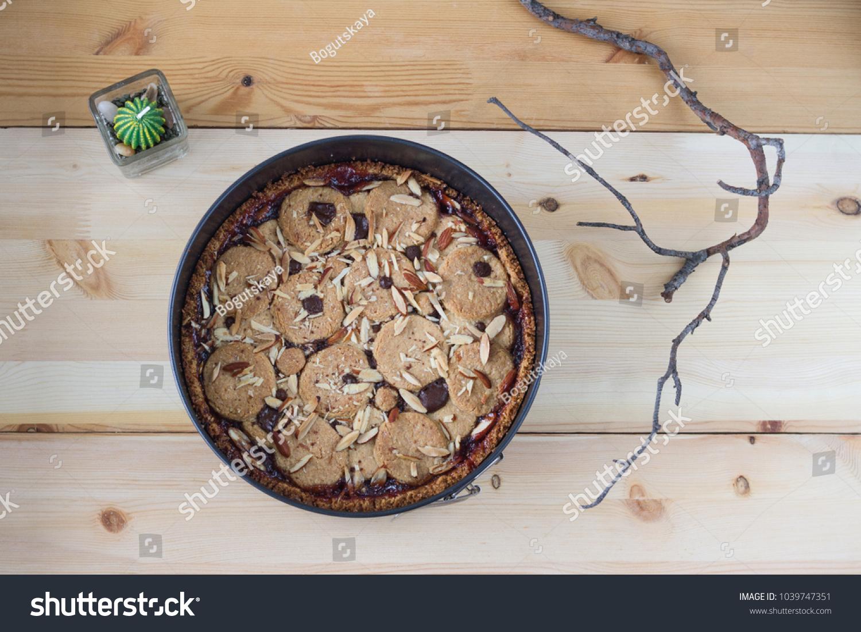 Almond Birthday Cake Raspberry Confiture Metal Stock Photo Royalty