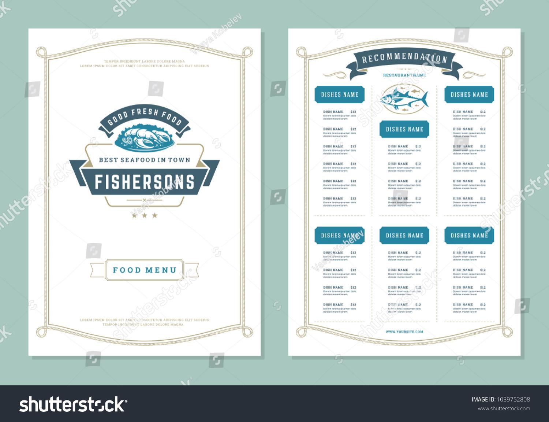 Bistro Brochure Cover Flyer Layout Restaurant Stock-Vektorgrafik ...