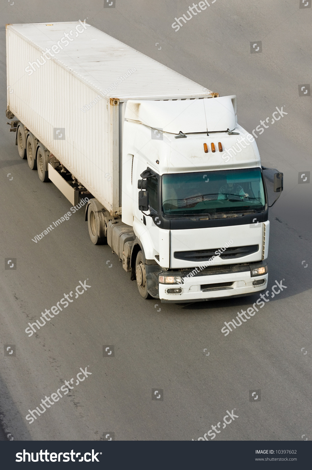 Tractor Trailer Stock : Tractor trailer truck isolated on road stock photo