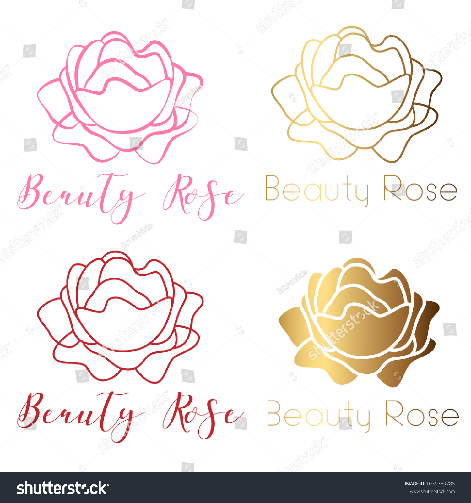 Beauty Rose Logo Sign Symbol Beauty Stock Vector Royalty Free
