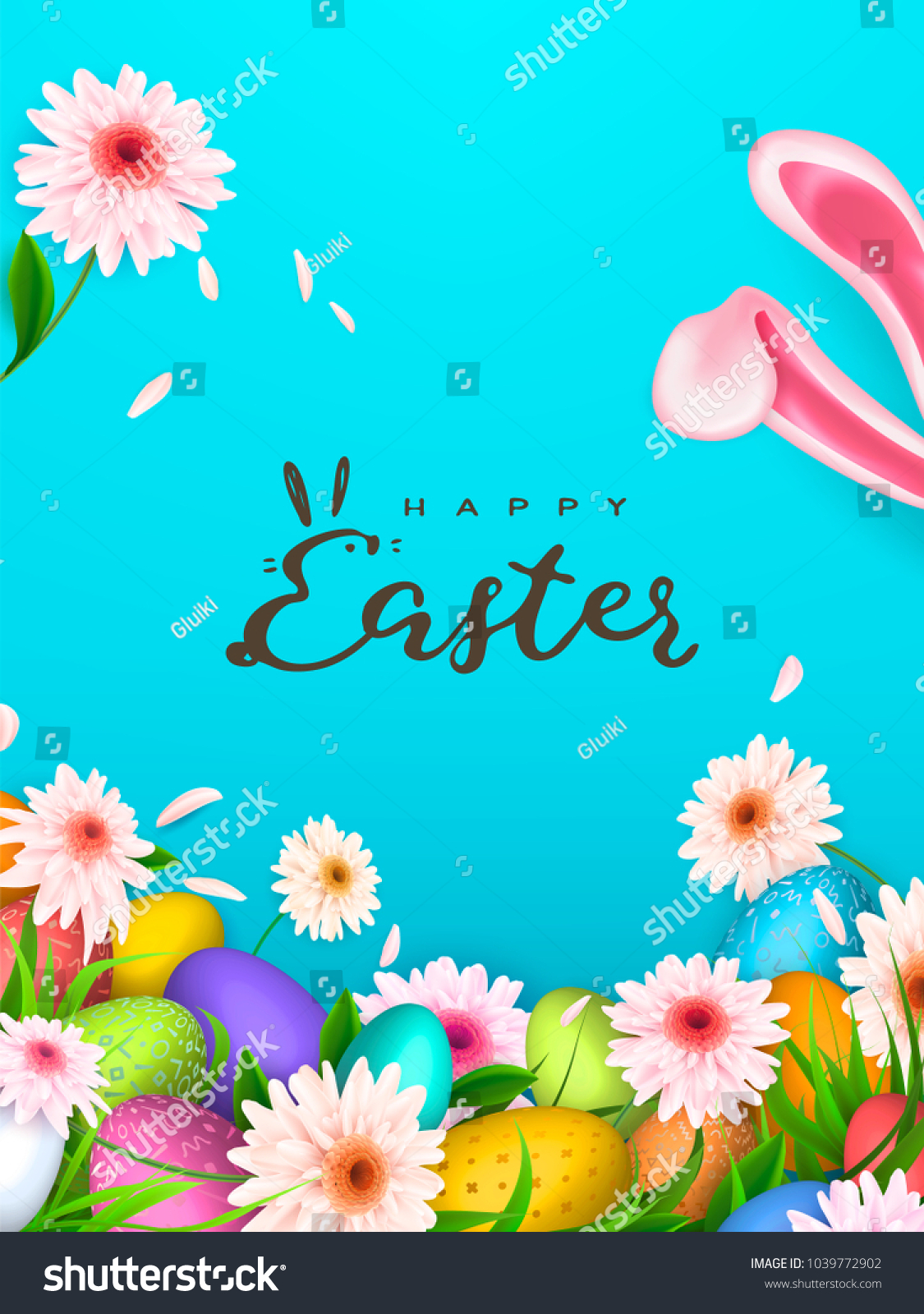 happy easter background trendy pattern egg stock vector royalty