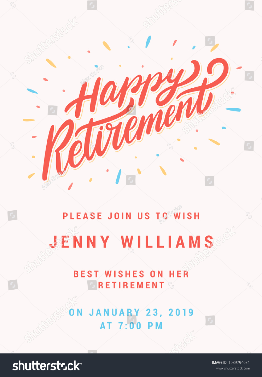 Happy Retirement Party Invitation Template Stock Vector 1039794031 ...