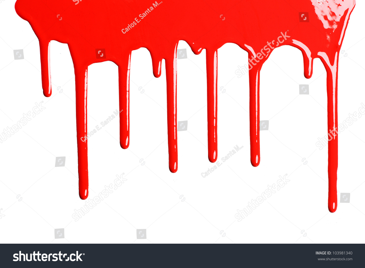 Red Dripping Paint Against White Background Stock Photo ...