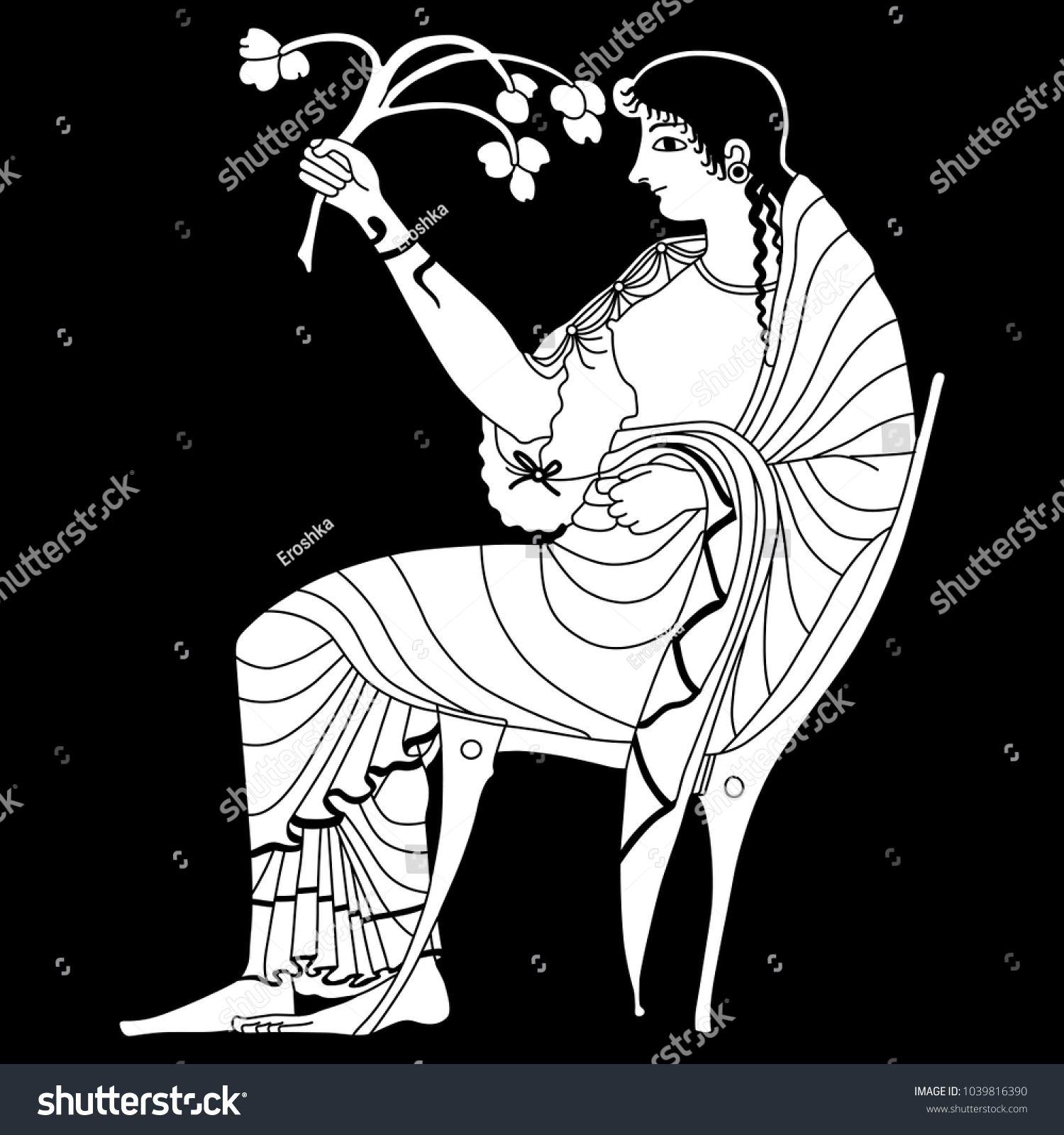 Isolated vector illustration black white linear stock vector black and white linear silhouette of ancient greek goddess demeter or persephone buycottarizona Image collections