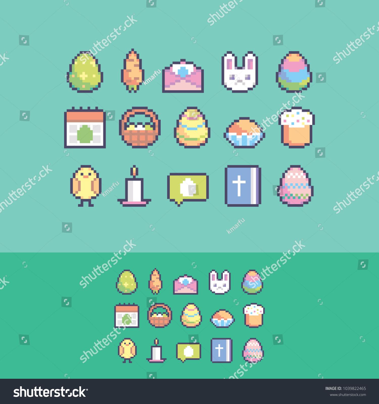 Pixel Art Cute Easter Vector Icons Stock Vector 1039822465 ...