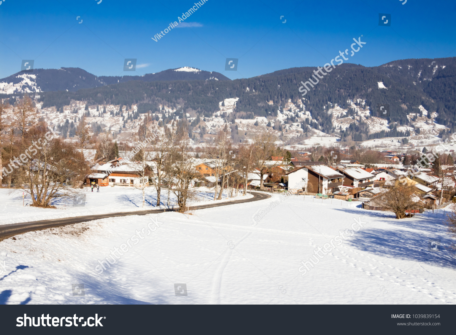oberammergau germany january 13 2018 landscape snowing stock photo