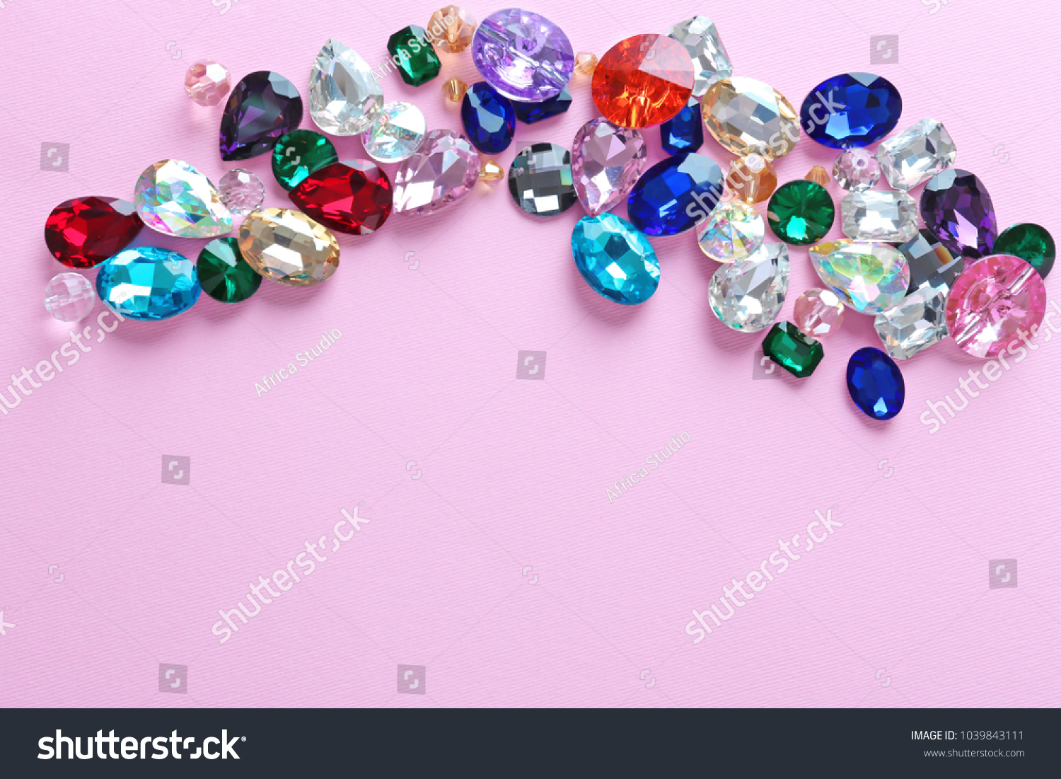 Different Precious Stones Jewellery On Color Stock Photo ...