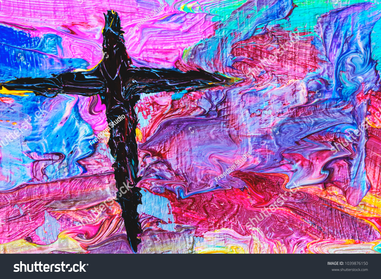 Royalty Free Stock Illustration of Colorful Cross By Oil Painting ...