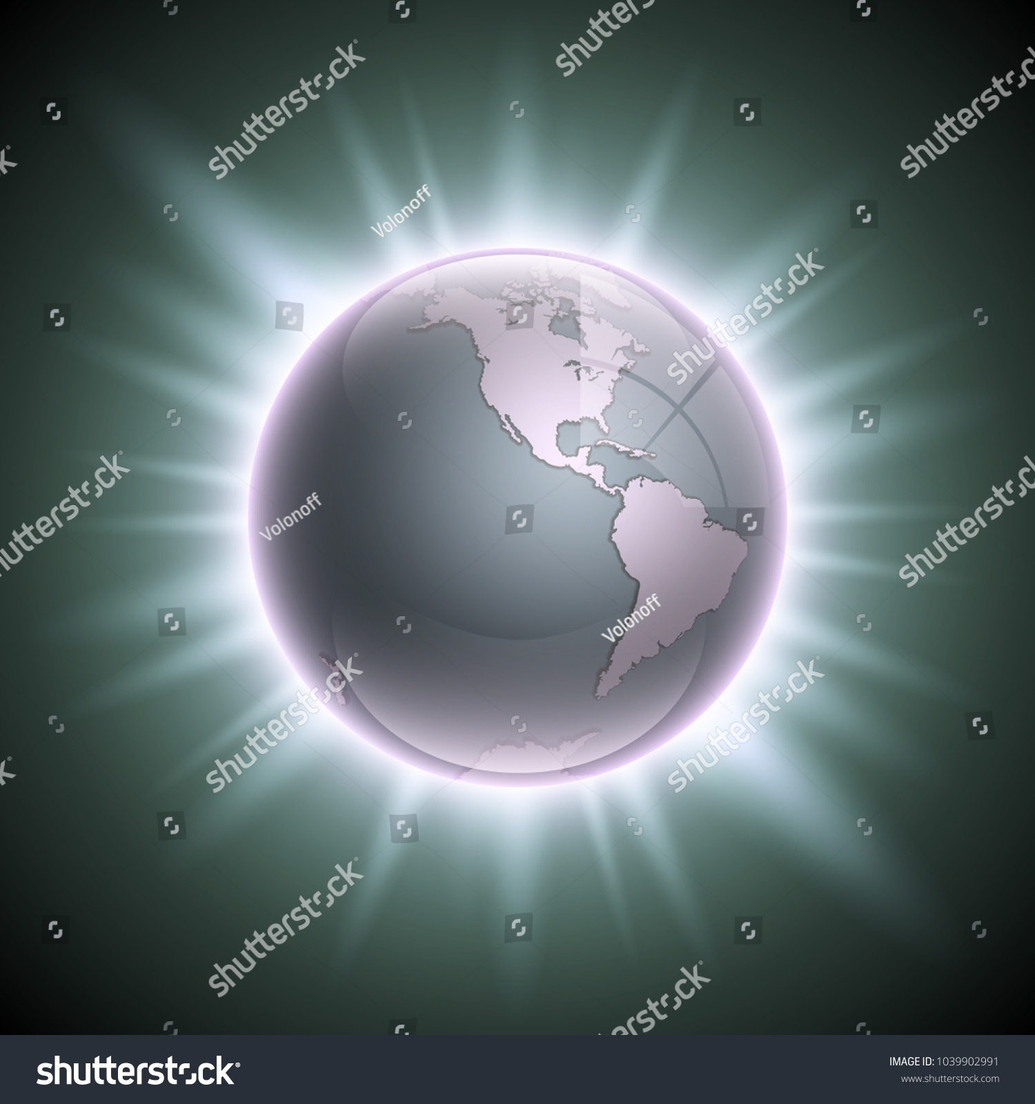 World map rising sun globe icon stock illustration 1039902991 world map with the rising sun globe icon in the space sunlight planet earth gumiabroncs Images