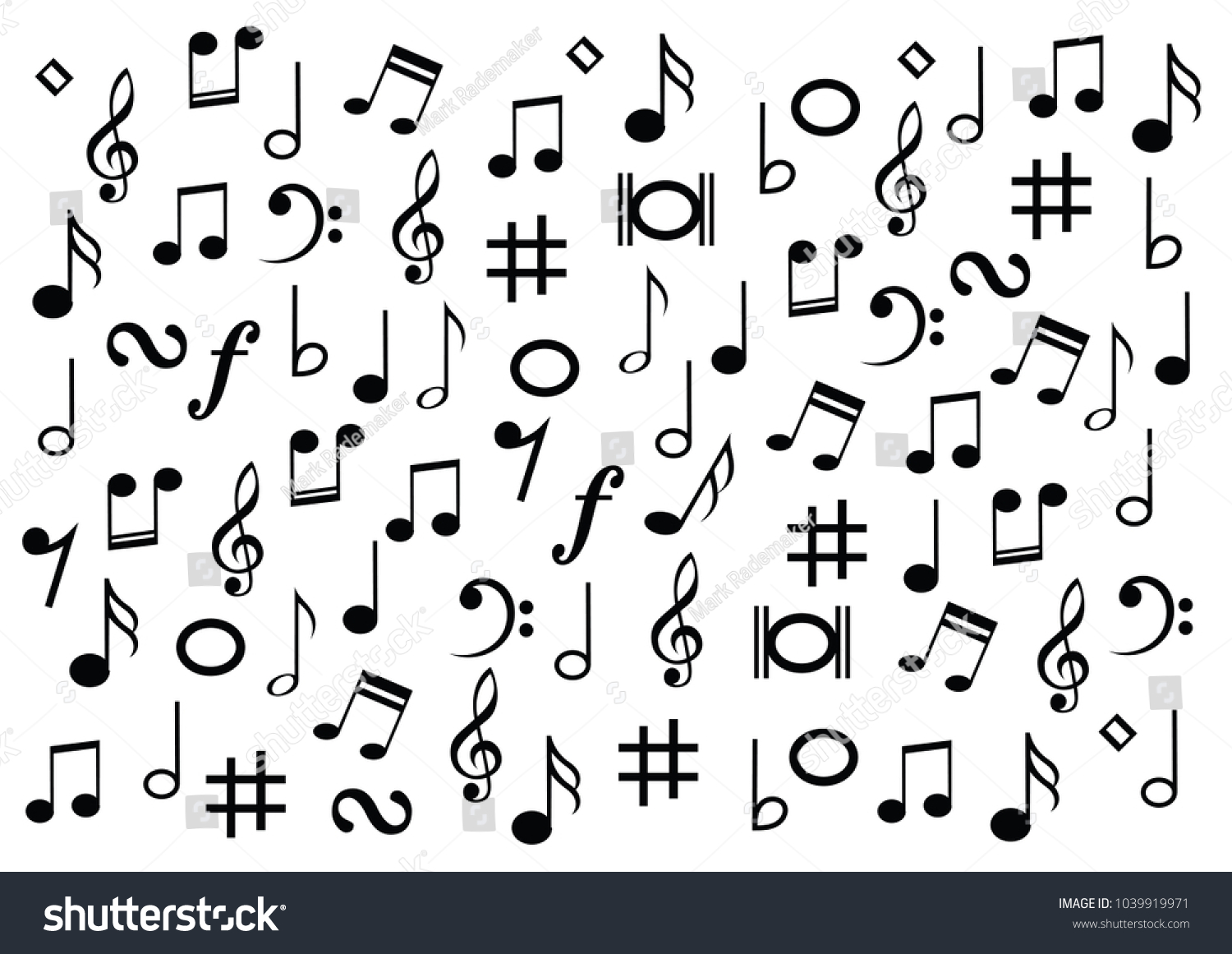 Different Musical Symbol Music Note Background Stock Vector