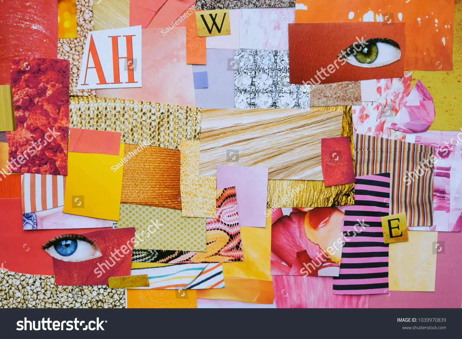 40b2c3e6aed Creative Atmosphere art mood board. Handmade collage made of magazines and  color paper cut clippings