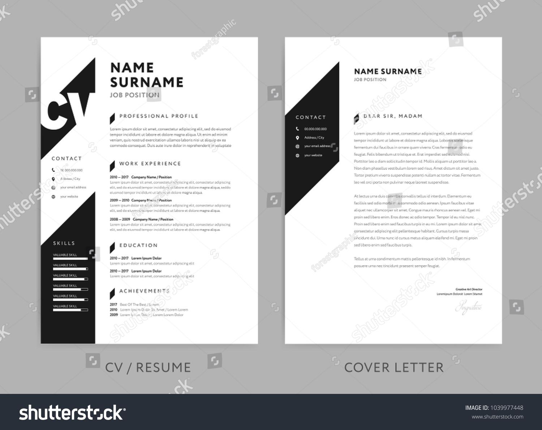 Minimalist Cv Resume Cover Letter Minimal Stock Vector
