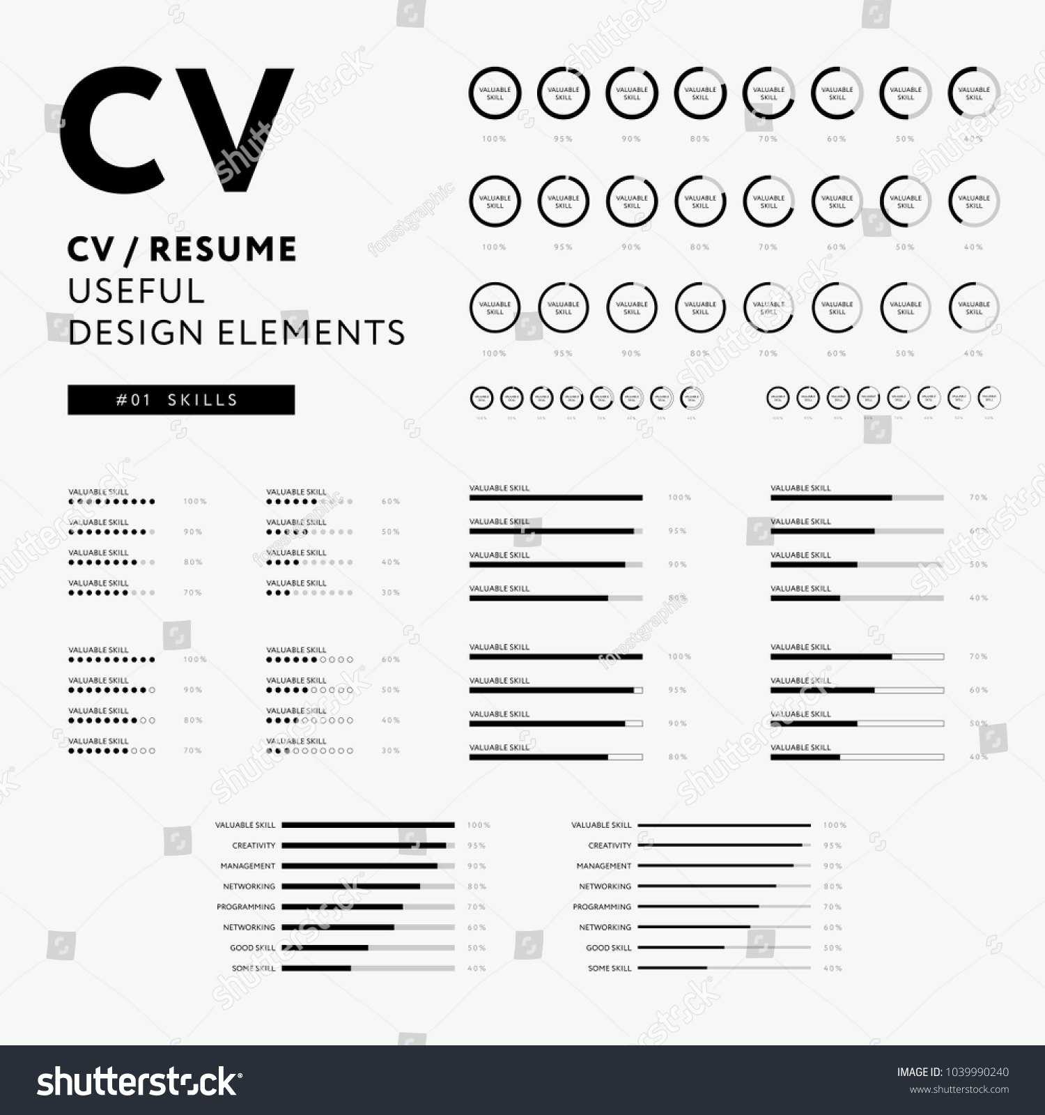 cv resume design elements set skills icons minimal vector black and white infographics - Elements Of A Resume