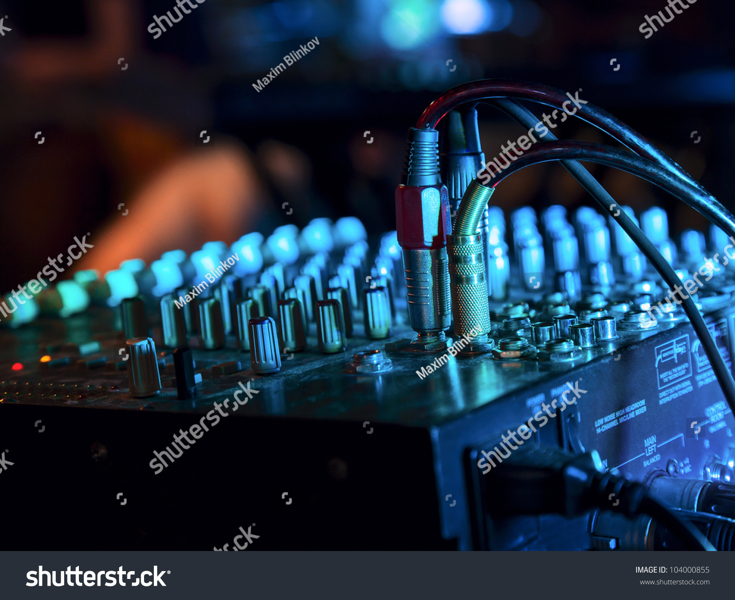 Music Mixer Nightclub Connected Wires Stock Photo Edit Now Audio Wiring Plans For At With