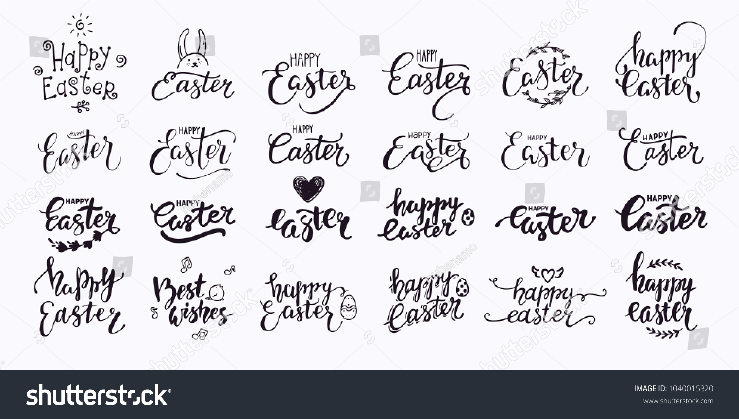 happy easter hand written lettering modern stock vector royalty
