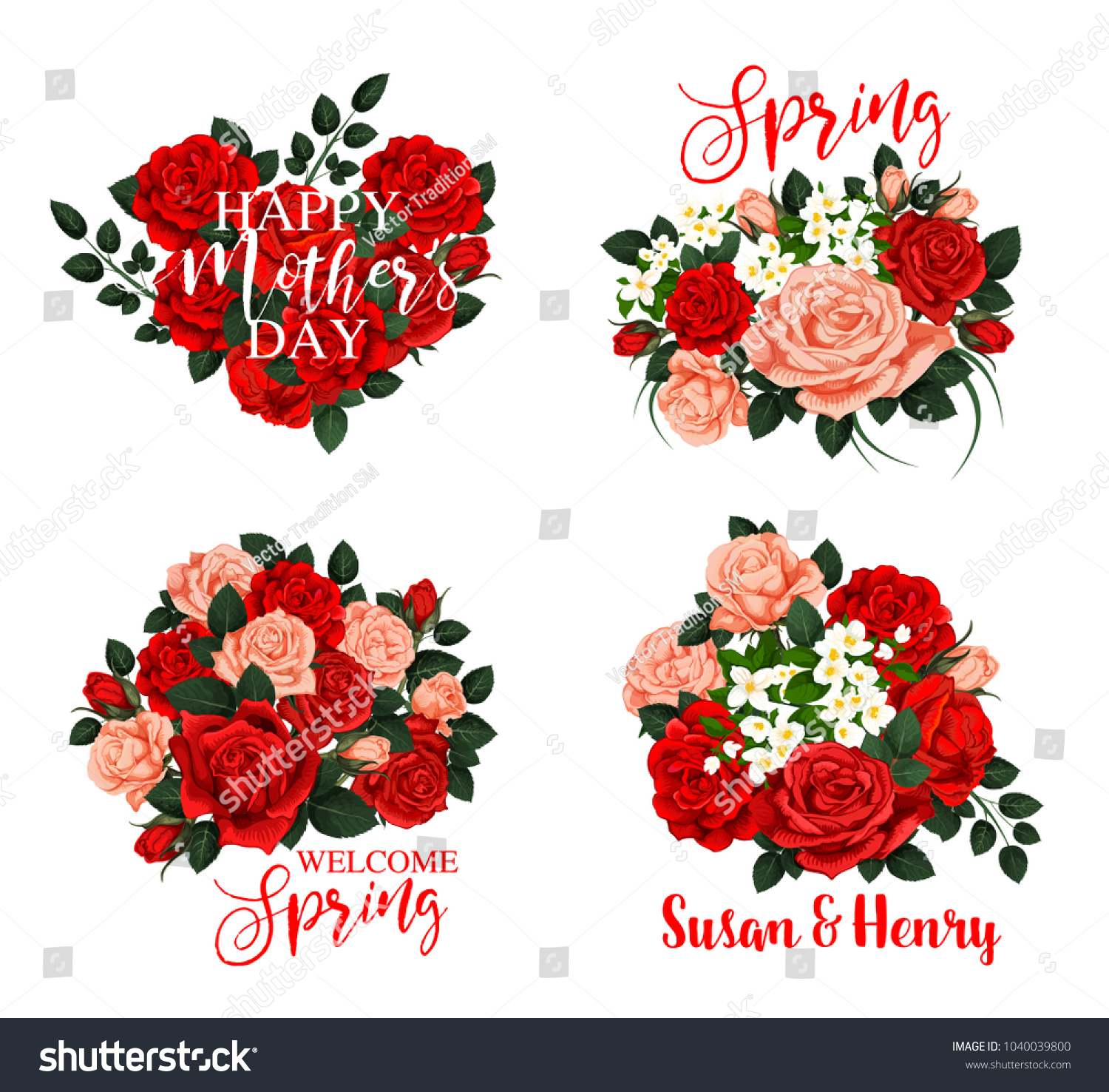 Spring Flower Bouquet Icon Mother Day Stock Vector HD (Royalty Free ...