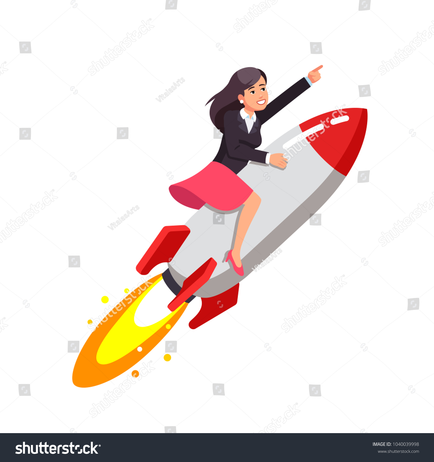 Businessgirl On Rocket On Transparent Background Stock Vector