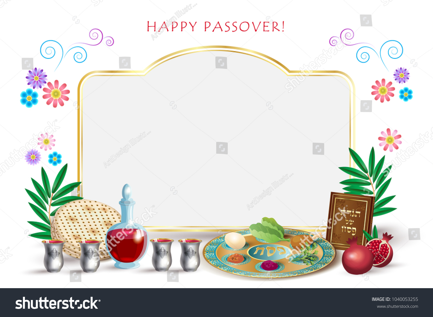 Happy Passover Holiday Greeting Card Passover Stock Vector Royalty