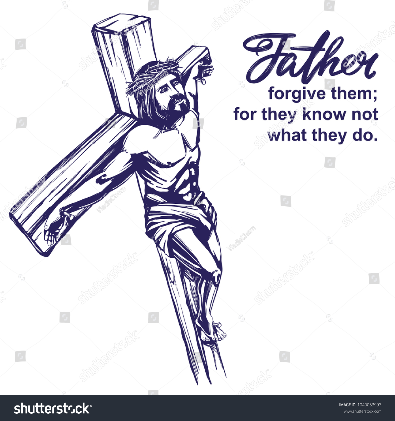 Jesus christ son god crucified on stock vector 1040053993 shutterstock jesus christ the son of god crucified on a wooden cross symbol of buycottarizona Gallery