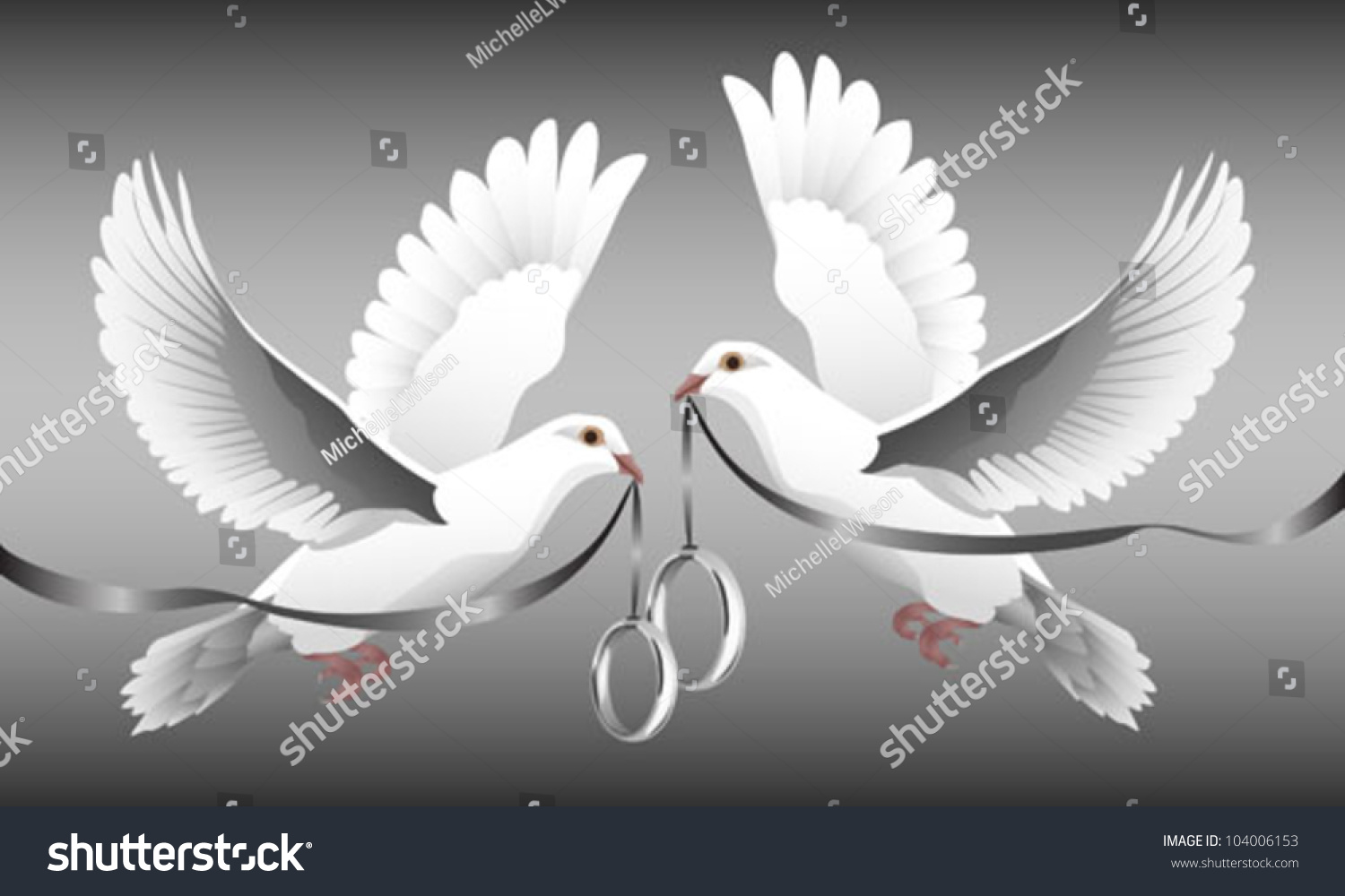 Two White Doves Flight Carrying Wedding Stock Vector Royalty Free