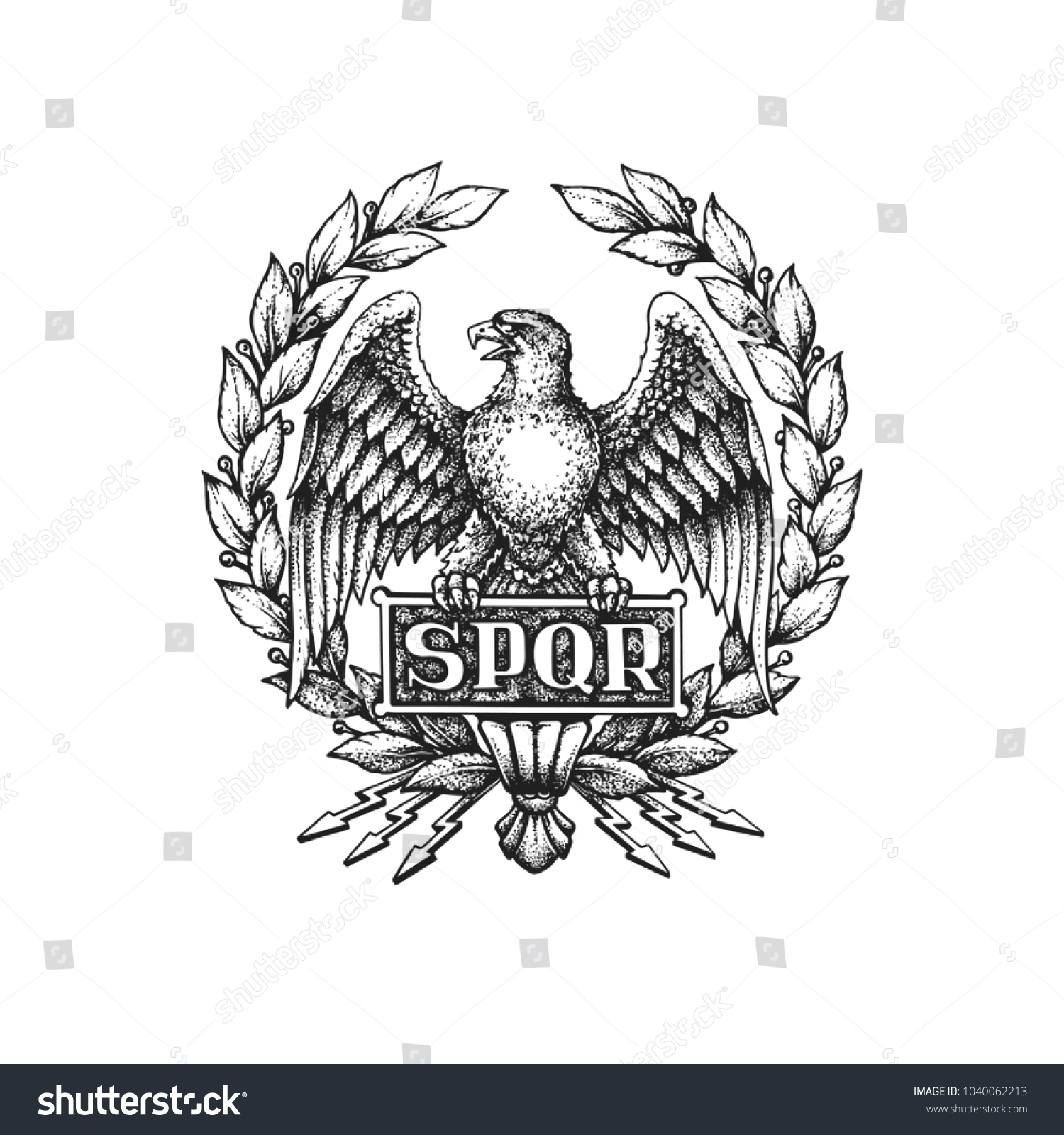 Spqr Symbol Roman Empire Aquila Eagle Stock Vector Royalty Free
