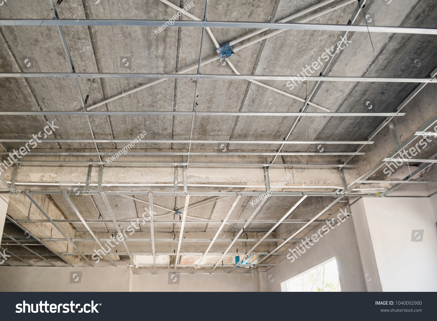 Install Metal Frame Plaster Board Ceiling Stock Photo (100% Legal ...
