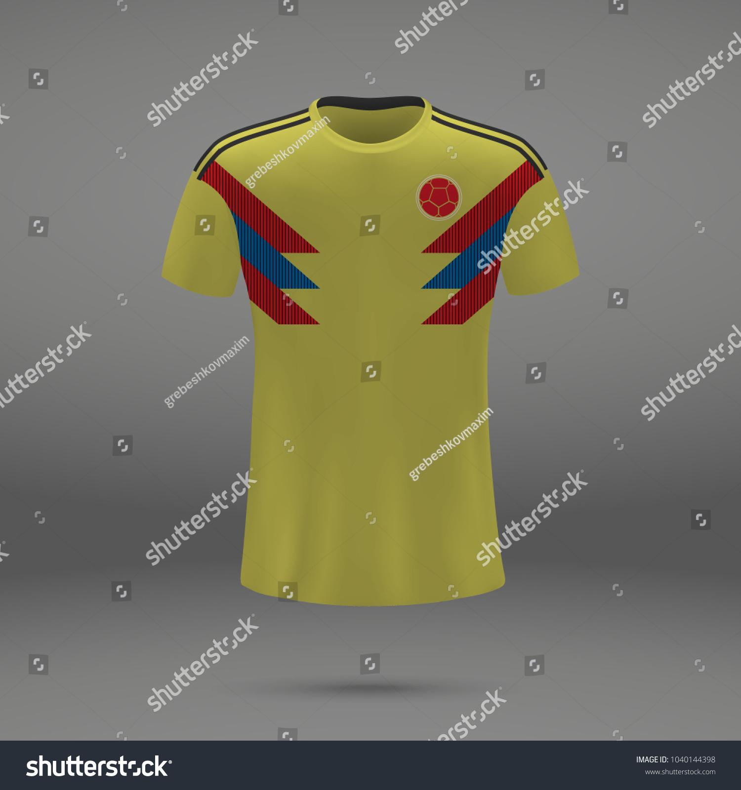 Football Kit Colombia 2018 Shirt Template Vector de stock (libre de ...