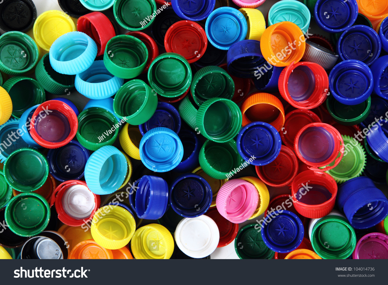 Recycled Plastic Bottle Caps Stock Photo 104014736