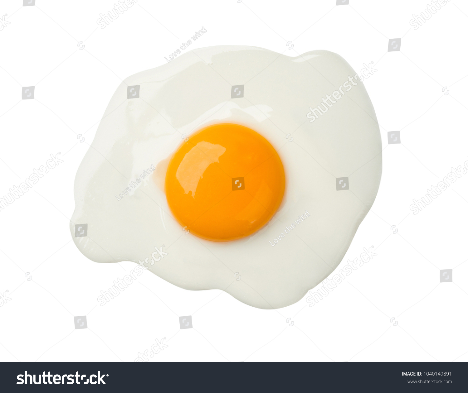 Fried egg isolated on white background on top view  food cooking photo object design