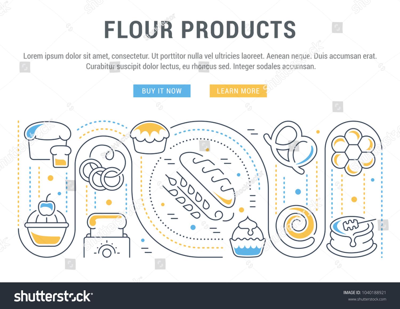 Line Illustration Flour Products Concept Web Stock Vector 1040188921 ...