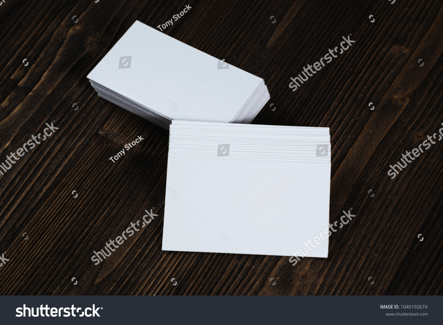 blank business cards on wooden working table with copy space for add