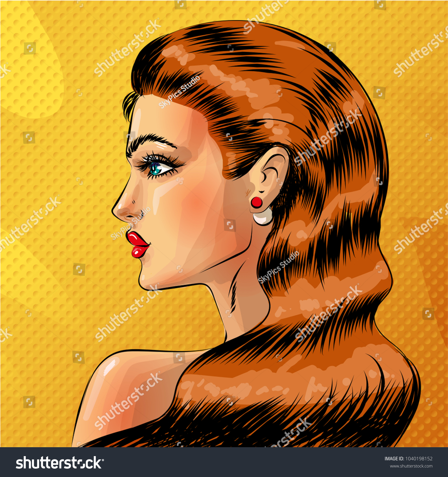Pop art beautiful woman side view portrait redheaded sexy pin up girl in comic