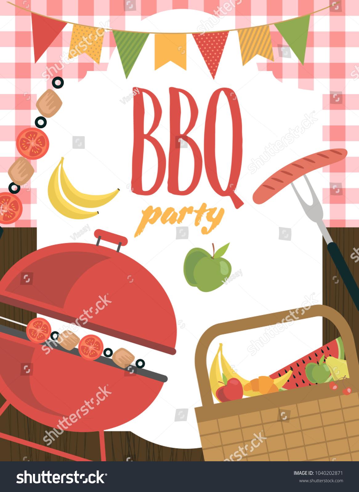 Picnic Barbecue Party Invitation Card Vector Stock Vector (Royalty ...